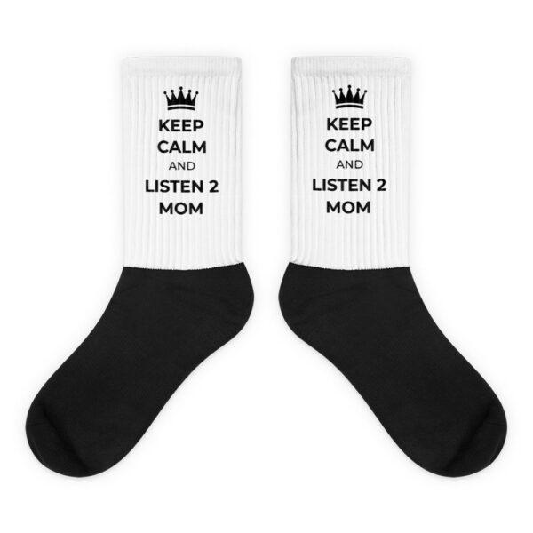 """Socken """"Keep calm and listen 2 mom"""""""