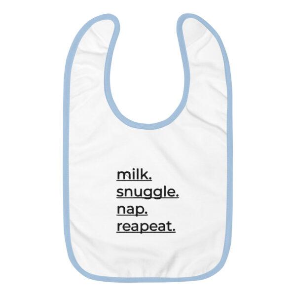 "Besticktes Lätzchen ""Milk. Snuggle. Nap, Repeat"""